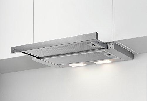 AEG DPB2621S Dunstabzugshaube (Einbau)/ausziehbare Flachschirmhaube mit 3 Leistungsstufen und LED-Beleuchtung/Edelstahlblende nicht im Lieferumfang/60 cm Einbau Dunstabzug/Silber