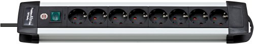 Brennenstuhl Premium-Alu-Line, Steckdosenleiste 8-fach - Steckerleiste aus hochwertigem Aluminium (mit Schalter und 3m Kabel) Farbe: schwarz