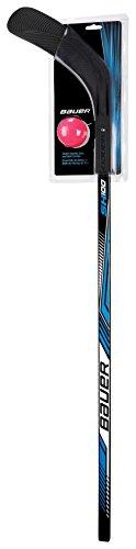BAUER - Streethockey Sh100 Set inkl. Ball Junior I Straßenhockey I Rollerhockey I Eishockeytraining I Sport & Freizeit I austauschbares Blatt I Streethockeyschläger I Linkshänder -  43'/110 cm