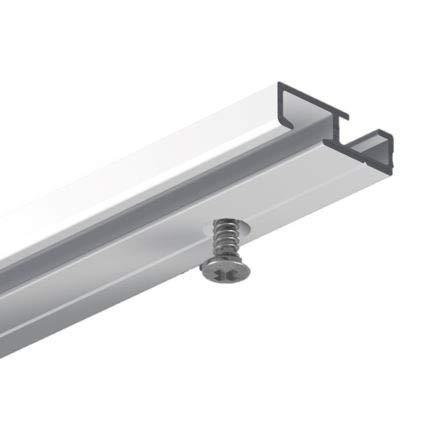 GARDINEUM 1,60 m Gardinenschiene, alle Längen bis 4,60 m möglich,Aluminium, 1-läufig, vorgebohrt, weiß, glatte glänzende Oberfläche