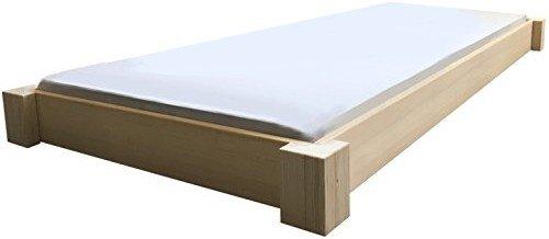 LIEGEWERK Bodentiefes Designbett Massivholzbett Bett Holz Massiv 90 100 120 140 160 180 200 x 200cm Hergestellt in BRD (180cm x 200cm)