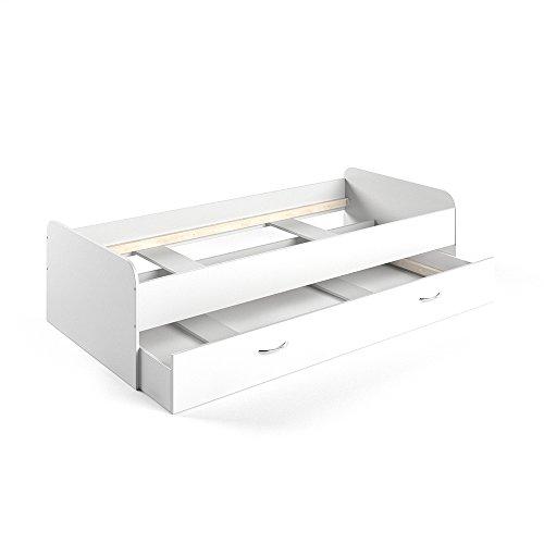 VICCO Kojenbett Bett Enzo Jugendbett mit Gästeliege Funktionsbett in weiß 90x200 cm (weiß)