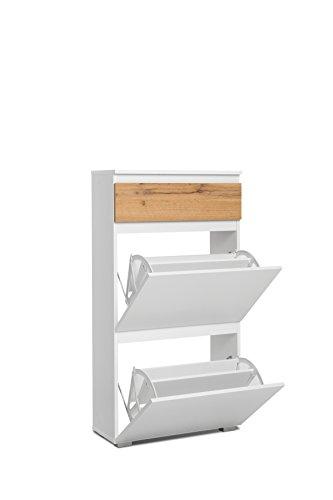 Schuhkipper - 2 Doppelfächer, 1 Schublade in Eiche (B/H/T: 58 x 109 x 25 cm) Schuhgröße bis 45 cm, für 12 Paar Schuhe