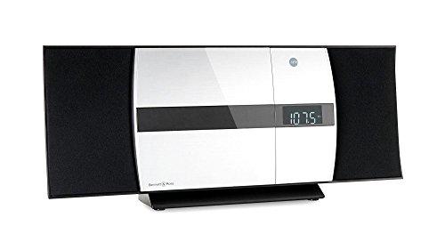 Bennett & Ross Ålesund Vertikal Stereoanlage (CD/MP3, USB, Bluetooth, NFC, UKW-Radio, Stand- oder Wandmontage, Uhr mit Weckfunktion, inkl. Fernbedienung) Schwarz/Silber