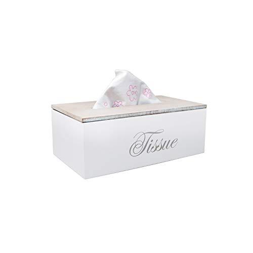DRULINE Holz-Taschentuchbox Kosmetiktücherbox Taschentuchspender Tücher Box Tissue (weiß)