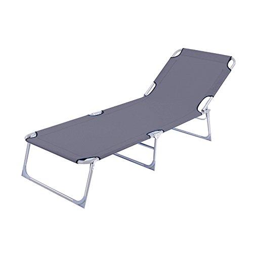 HENGMEI Klappbar Liegestuhl Gartenliege Relaxliege Sonnenliege mit Dach, 188 x 58 x 24 cm (Grau, ohne Dach)