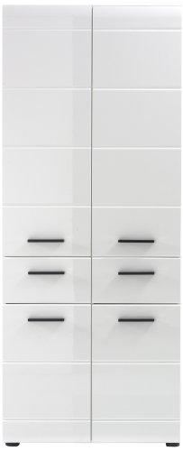 trendteam Badezimmer Hochschrank Schrank Skin Gloss, 60 x 182 x 31 cm in Weiß Hochglanz mit viel Stauraum und zwei Schubkästen