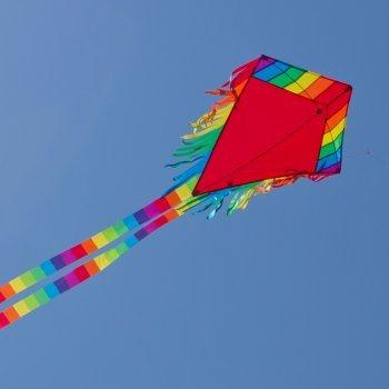 Einleiner-Drachen - Maya Eddy RED - für Kinder ab 3 Jahren - Abmessung: 65x74cm - inkl. 80m Drachenschnur und 2x250cm Streifenschwänze