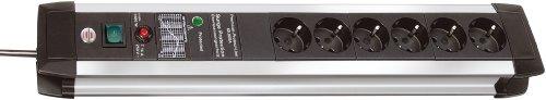 Brennenstuhl Premium-Protect-Line, Steckdosenleiste 6-fach mit Überspannungsschutz - stabiles Aluminium-Gehäuse (3m Kabel und Schalter) Farbe: schwarz