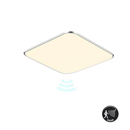 MCTECH LED Deckenlampe mit Bewegungsmelder 24W Warmweiß Deckenleuchte LED 1680 Lumen Radar Sensorleuchte für Wohnzimmer Schlafzimmer Flur Bad, Quadrat 38 x 38 cm