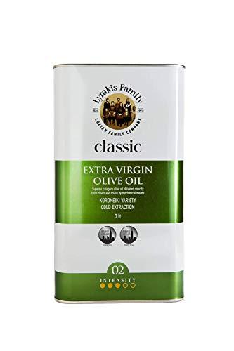 'Lyrakis Family seit 1975' Olivenöl 3 Liter Extra Vergine Kaltgepresst aus Kreta-Griechenland  Extra Nativ 0,2%  PREMIUM  MediterranMarkt.de