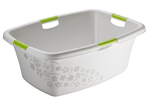 Rotho Wäschewanne 'Flowers' aus Kunststoff/Plastik (PP) in grau/grün   Gr. L, Inhalt ca. 50 Liter - diverse Größen auswählbar   (LxBxH) ca. 65x48.6x26 cm Moderner Wäschesammler 1756802590