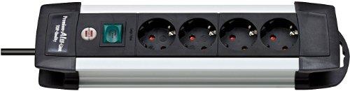 Brennenstuhl Premium-Alu-Line, Steckdosenleiste 4-fach - Steckerleiste aus hochwertigem Aluminium (mit Schalter und 1,8m Kabel) Farbe: schwarz