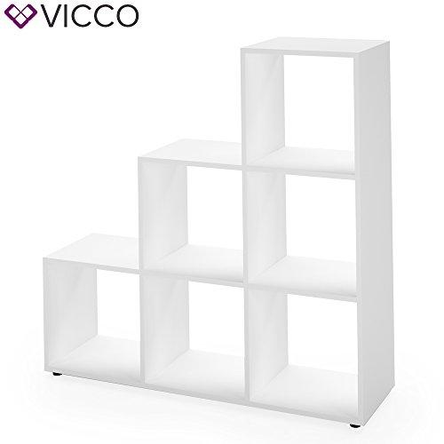 Treppenregal Weiß 6 Fächer - Raumteiler Stufenregal Bücherregal Raumtrenner Aktenregal Standregal