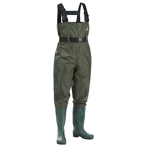 FISHINGSIR Wathose Anglerhose Watstiefel Watt Fisch Teich Gummi PVC Nylon Wathose mit Stiefeln kältebeständig 46