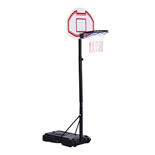 HOMCOM Kinder Basketballständer Basketballkorb Korbhöhe bis 210cm mit Rollen