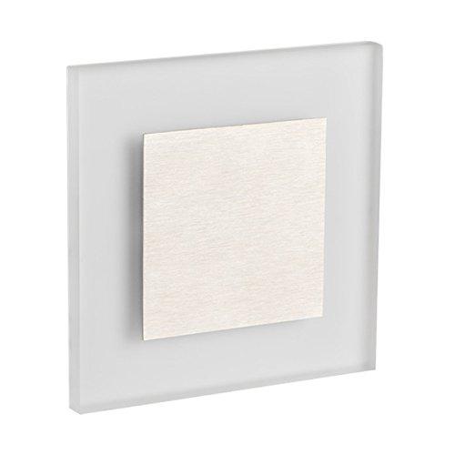 Premium LED Wandeinbaustrahler Treppenlicht Stufenleuchte Aktzentbeleuchtung flaches Satinglas quadratisch 230V AC WB1 (Warmweiß)