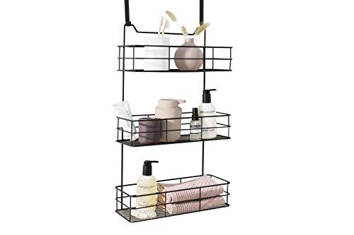 LIFA LIVING Türregal zum Einhängen, Einhängeregal für Bad und Küche, Hängeregal für Küchenartikel, Reinigungsmittel, Badzubehör und mehr, Schwarzes beschichtetes Metall