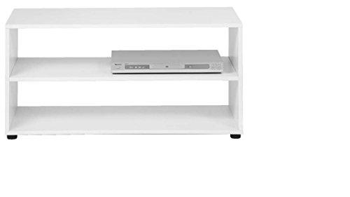 CAVADORE TV-Stand VANCOUVER / TV-Regal in weiß  90 cm breit / Modernes Regal für Fernseher mit praktischer Ablagemöglichkeit / Holzwerkstoff / 90 x 39 x 45 cm (B x T x H)