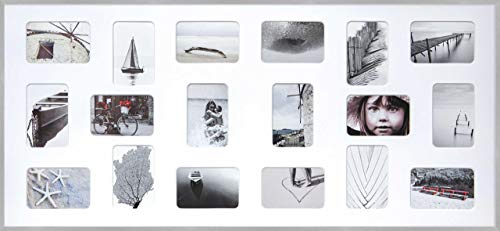 DEHA Aluminium Bilderrahmen Tribeca Collage, 109,2x49,5 cm - 18x 10x15 cm, Struktur Silber Matt