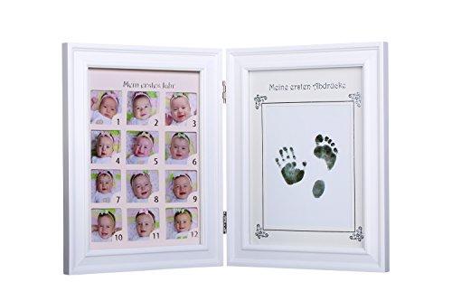 Ambrosya | Baby Bilderrahmen für Fotos + Handabdruck/Fußabdruck | Mein erstes Jahr | Abdruck Erinnerung Foto Fotorahmen Rahmen Geschenk Geschenkidee Mädchen Junge Geburt Taufe (Zweiteilig, Weiß)