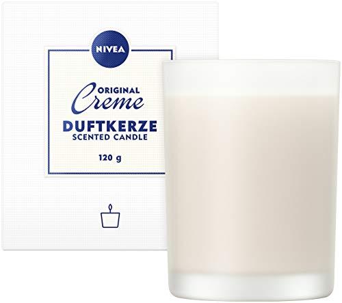 NIVEA Home Duftkerze mit dem unvergleichlichen Duft der NIVEA Creme, Brenndauer bis zu 24 Stunden, Aromatherapie-Kerze im hochwertigen milchig-weißen Glas, mittelgroß, 1 x 120g