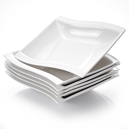 MALACASA, Serie Flora, 6 teilig Set Cremeweiß Porzellan Suppenteller 8,25 Zoll / 21x22x4,5 cm für 6 Personen