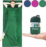 MIQIO 2in1 Hüttenschlafsack mit durchgängigem Reißverschluss (Links oder rechts): Leichter Komfort Reiseschlafsack und XL Reisedecke in Einem - Sommer Schlafsack Innenschlafsack Inlett Inlay - Grün