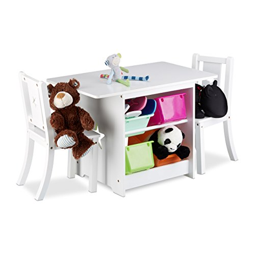 Relaxdays Kindersitzgruppe ALBUS mit Stauraum, 1 Tisch und 2 Stühle aus Holz, Kindertischgruppe für Jungen und Mädchen, weiß