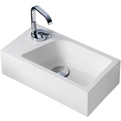 Gäste WC Waschbecken für Wandmontage Mineralguss Links oder Rechts