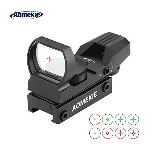 AOMEKIE Red Dot Visier Airsoft mit 20mm/22mm Schiene Leuchtpunktvisier Rotpunktvisier mit Tactical 4 Reticles für Jagd Softair Pistole und Armbrust