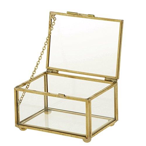 MagiDeal Geometrisches Glas Terrarium Box Schmuckschatulle Glas Sukkulente Pflanzgefäß Deko Rechteck Form - Kupfer, 10 x 7 x 6 cm