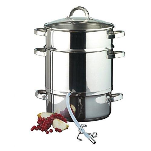 Entsafter aus Edelstahl induktionsgeeignet ca. 8 Liter Füllvolumen Dampfentsafter mit Glasdeckel - schonendes Entsaften von Obst und Gemüse