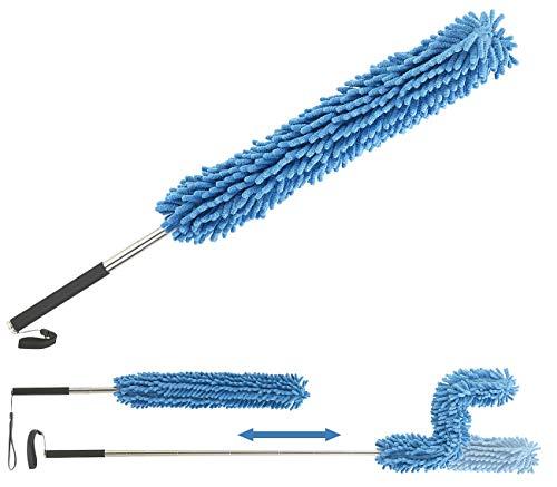 Sichler Haushaltsgeräte Staubwedel ausziehbar: Formbarer Mikrofaser-Staubwedel mit Teleskop-Griff, bis 135 cm (Staub-Bürsten)