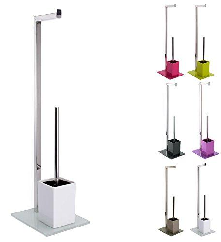 MSV Bad Serie 'SYDNEY' Stand WC Garnitur aus Edelstahl und Glas mit herausnehmbaren Innenbehälter für die WC Bürste Weiß