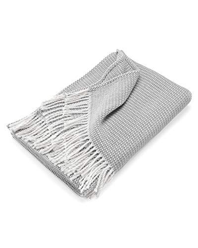 myHomery Sommerdecke Strick leicht & kuschelig - Wolldecke Fransen - Kuscheldecke Design modern Sofadecke - Decke Baumwolle Anthrazit | 130 x 170 cm