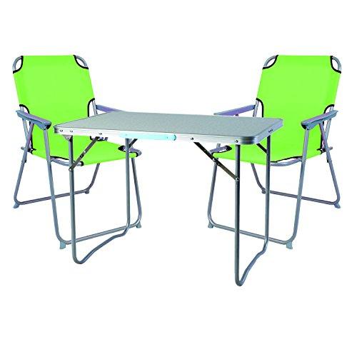 Mojawo 3tlg. Campingmöbel Set Alu Camping L70xB50xH59cm 1x Campingtisch mit Tragegriff + 2 Campingstühle Lime-grün Stoff Oxfort