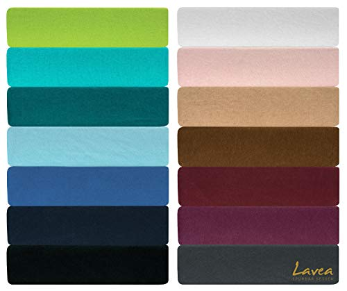 Lavea Jersey Spannbettlaken, Spannbetttuch, Serie LEA, 90x200cm   100x200cm, Weiß, 100% gekämmte Baumwolle, hochwertige Verarbeitung, mit Gummizug und OekoTex100