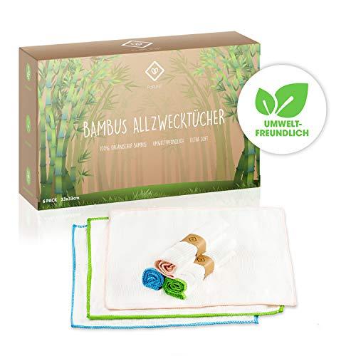 FLIPLINE Premium Bambus Tücher 6er Set perfekt geeignet für Küche Haushalt und Fenster Reinigung - nachhaltige umweltfreundliche 100% Bambustücher - Kristall Putztücher, Allzwecktücher