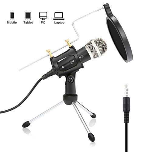 PC und Handy Mikrofon,NASUM,mini Kondensatormikrofon mit 3.5mm klinke Aufnahme Mikrofon für Podcast,Recording,Studio,Skype,YouTube,mit Ständer und Popschutz,für Android /IOS PC oder Alle Smartphone