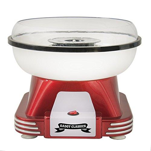 Gadgy  Zuckerwattemaschine | Retro Cotton Candy Machine für Zuhause | mit Zucker oder Zuckerfreie Harte Süßigkeiten Bonbons zu Benutzen | 500W Rot Weiß