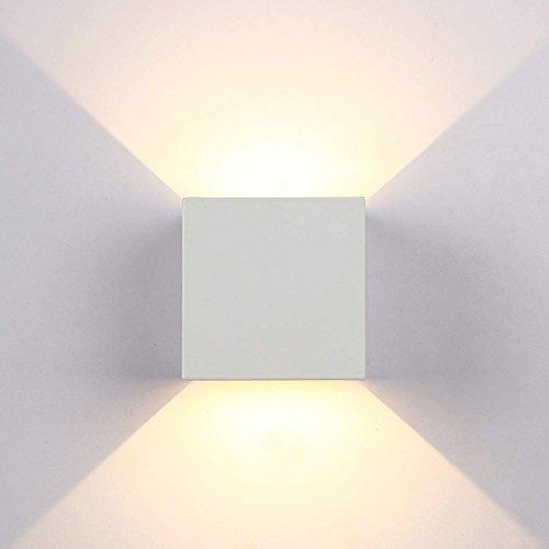 Topmo-plus 6W LED Wandlampe / 2 OSRAM COB LED Leuchtmittel Aluminium IP65 Wasserdichte 660LM Quadrat Wandbeleuchtung 3000K Warmweiß Up & Down Innen/Außenwandleuchten 10CM weiß