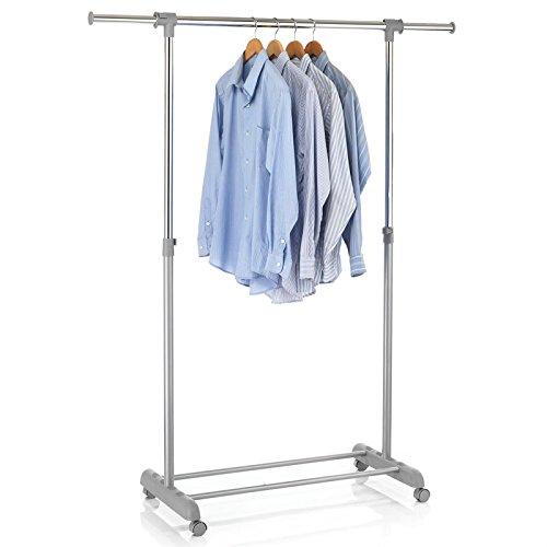 Rollgarderobe Garderobenwagen Roll Kleiderständer Garderobenständer Kleiderwagen SALA grau höhenverstellbar und ausziehbar