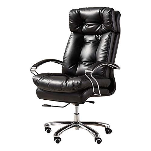 OUG-Chaise de bureau Haushalt Reclining Drehstuhl/Bürostuhl, bequemes und atmungsaktives Ledermaterial, geeignet für Büro, Studie (schwarz)