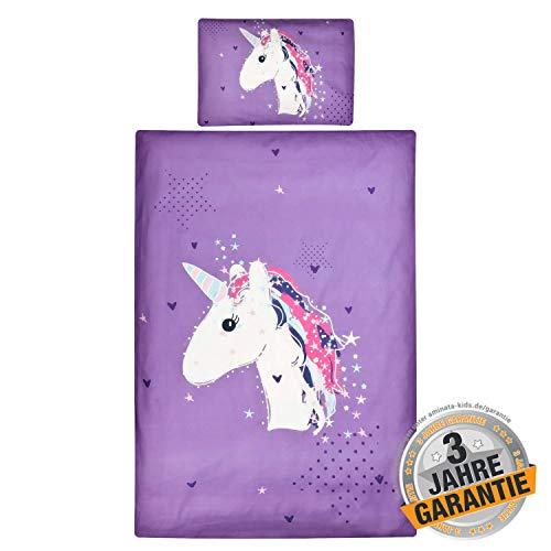 Aminata Kids Einhorn Bettwäsche 100x135 cm + 40 x 60 cm aus Baumwolle mit Reißverschluss, unsere Kinderbettwäsche mit Unicorn-Motiv ist weich und kuschelig