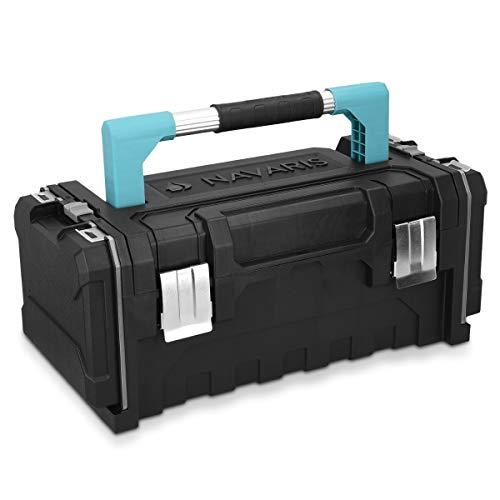 Navaris Werkzeugkoffer 20' Box leer - 51 x 23 x 21cm - 2 abnehmbare Organizer Boxen Alu Griff Stahlschließen - Werkzeugkasten Koffer ohne Werkzeug