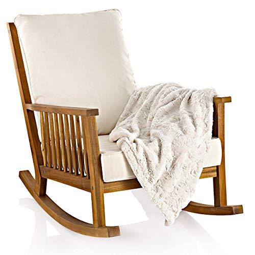 IMPRESSIONEN living Schaukelstuhl - inklusive Kissen - outdoorgeeignet - Akazienholz