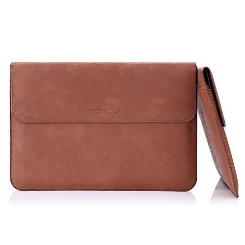 MoKo 10-11 Zoll Laptop / Tablet Hülle - PU Leder Tasche Schutzhülle Ledertasche Aktentasche Wallet Case Leather Sleeve mit Karten-Slot für Acer One 10.1' / ThinkPad 10 10.1' / Surface 3 10.8', Braun
