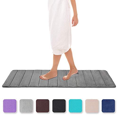 Homaxy Memory Foam Badezimmer Badeteppiche Saugfähige Rutschfester Badvorleger Waschbar Badematte - 40 x 120 cm, Grau