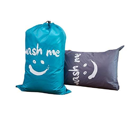 Dsaren Wäschesäcke Groß mit Kordelverschluss, Nylon Wäschesammler Faltbare Aufbewahrungsbeutel Wasserdicht, Schmutzige Kleidung Tasche für Schlafsaal und Reisen (2 Stück)